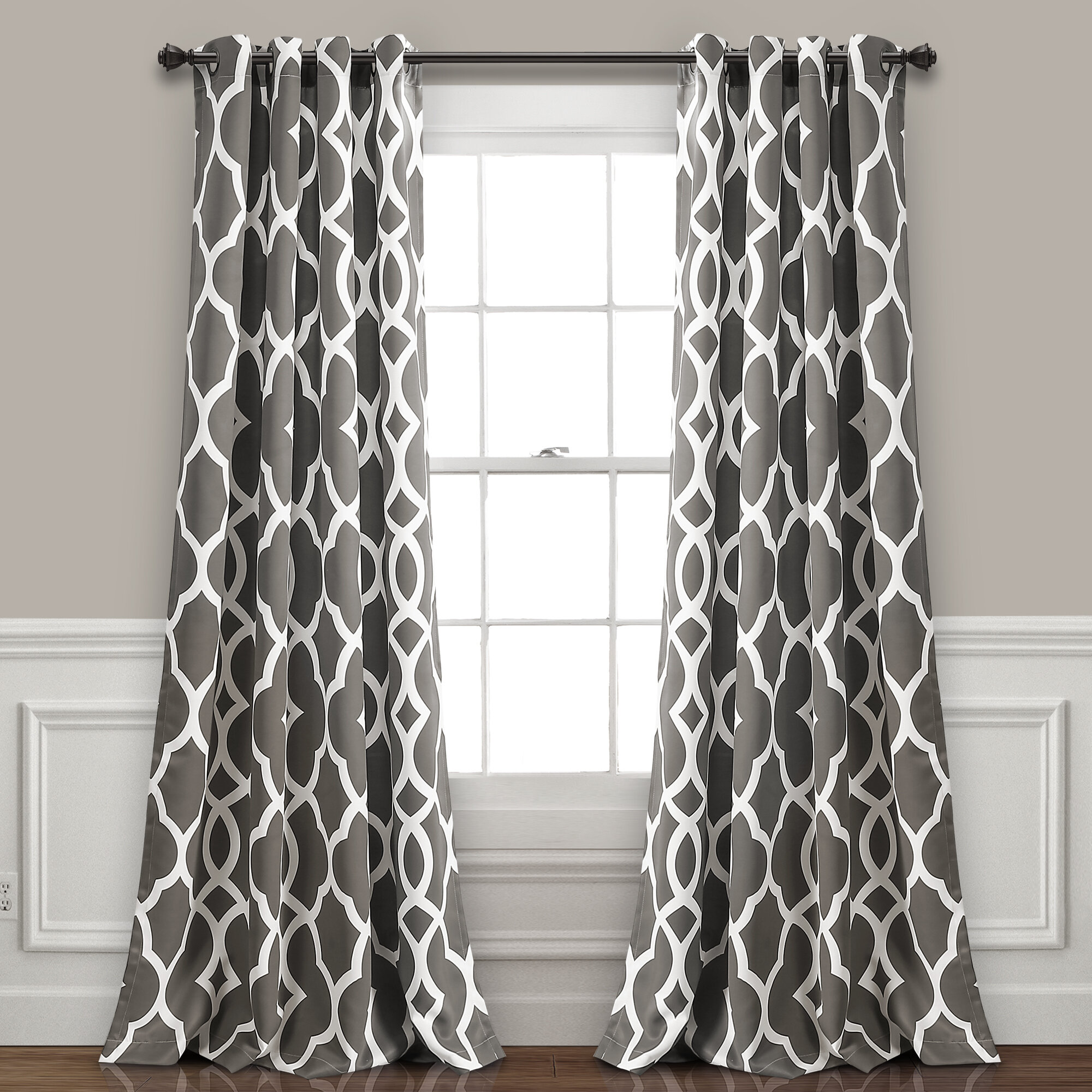 These Room Darkening Curtains Feature A Pattern Of Teardrop Shaped Leaves Between Two Horizontal Stripes Geometric Shapes Available In Three Color