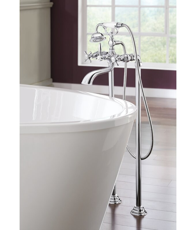 Moen Weymouth Two Handle Floor Mount Tub Filler Trim with Hand ...