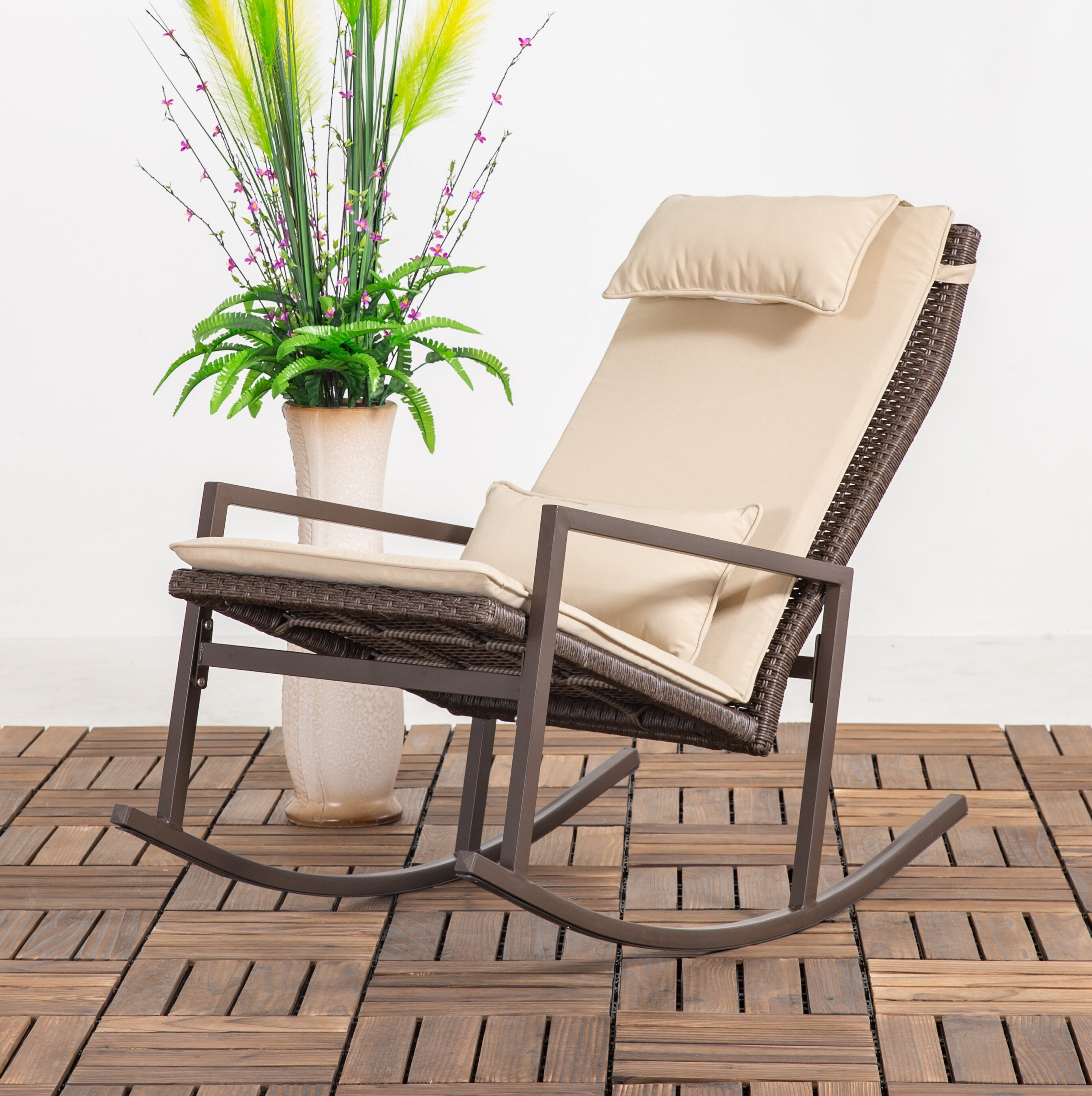 Image of: Longshore Tides Tremberth Outdoor Rocking Chair With Cushion Reviews Wayfair