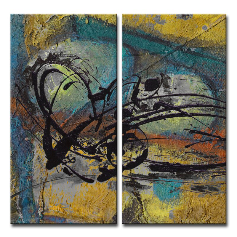 Wrought Studio Abstract Abs Vii 2 Piece Graphic Art On Wrapped Canvas Set Wayfair