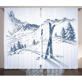 Canadice Winter Graphic Print and Text Semi-Sheer Rod Pocket Curtain Panels (Set of 2) by Red Barrel Studio
