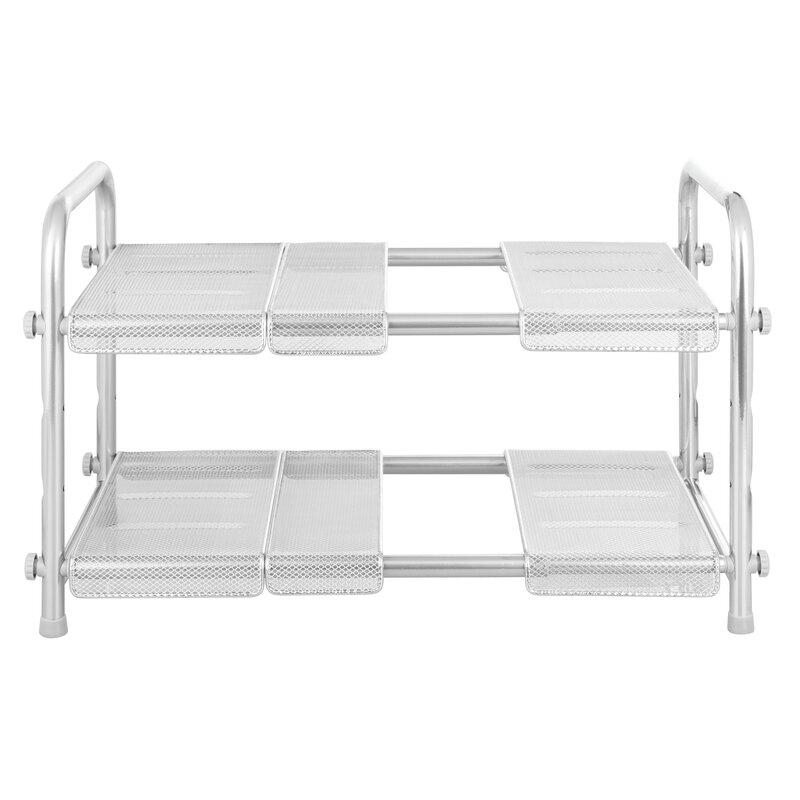2 Tier Kitchen Bathroom Storage Basket Rack Stand Shower Tidy Shelves Under Sink