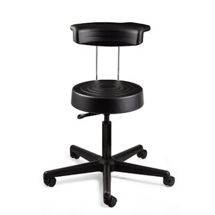 ErgoLux Height Adjustable Stool with Backrest and Dual-Wheel Hard Floor Casters
