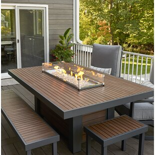 The Outdoor GreatRoom Company Kenwood Linear Dining Height Aluminum Propane/Natural Gas Fire Pit Table