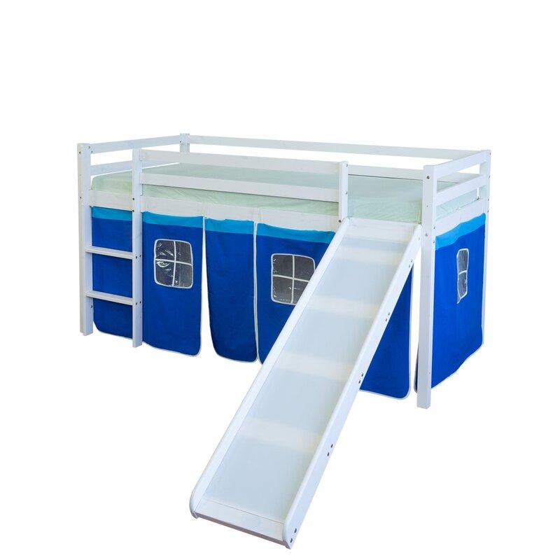 homestyle4u halbhochbett mit rutsche und vorhang 90 x 200. Black Bedroom Furniture Sets. Home Design Ideas