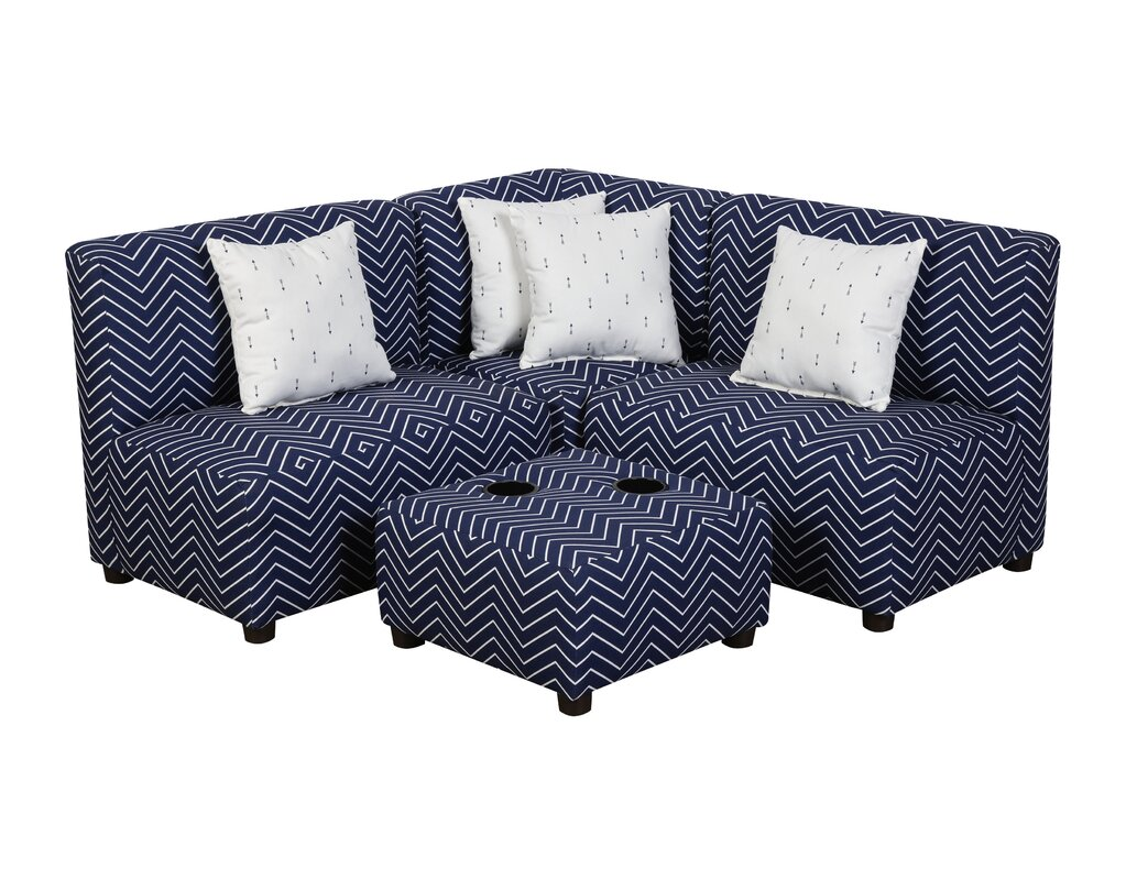 Barnars Kids Cotton Sectional And Ottoman With Cup Holder