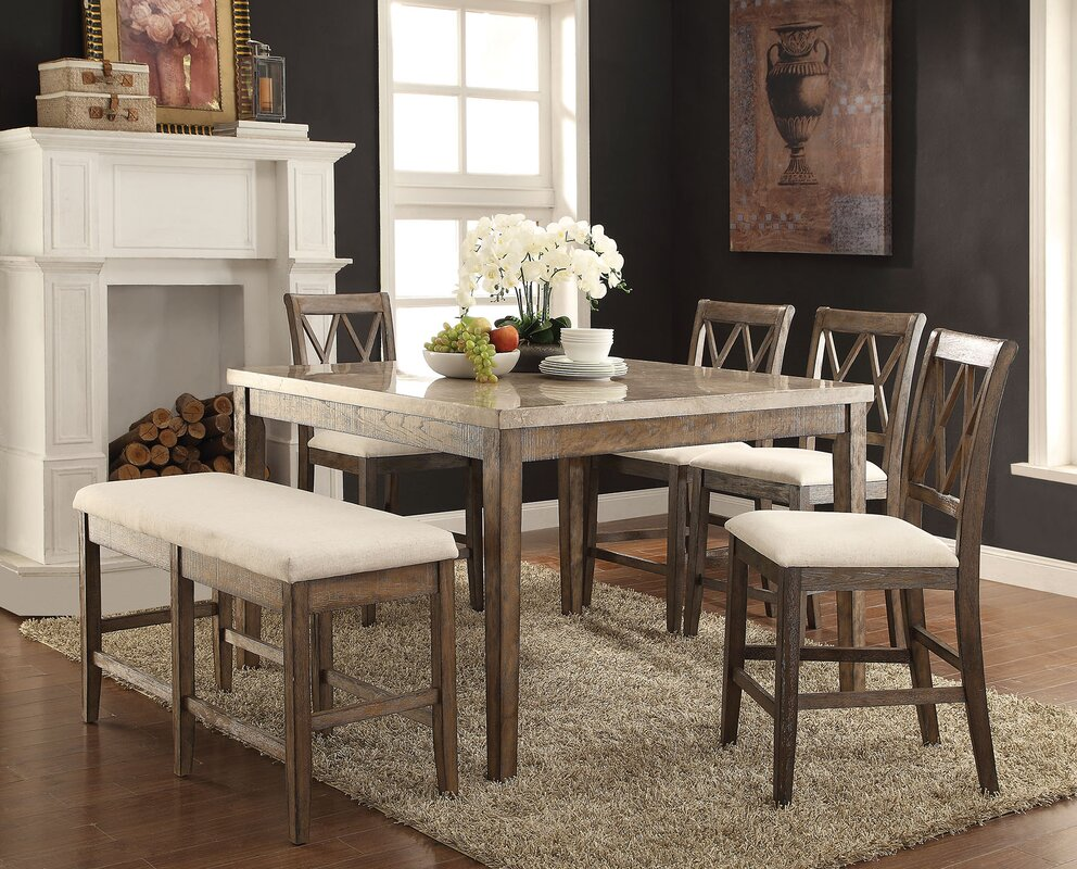 Wonderful Ting 6 Piece Counter Height Dining Table Set