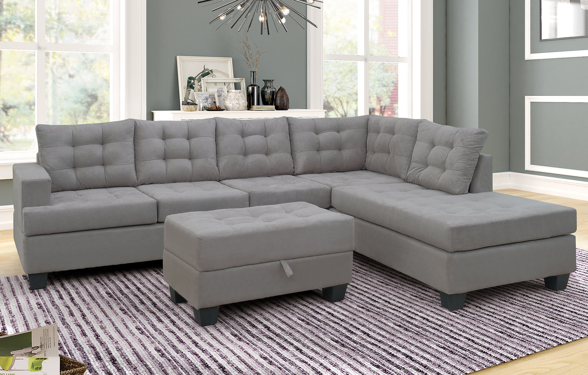 latitude run sofa 3 piece sectional sofa with chaise lounge and storage ottoman l shape couch living room furnituregrey c