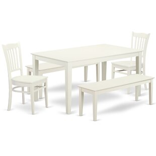 Smyrna 5 Piece Solid Wood Dining Set by Charlton Home Herry Upt