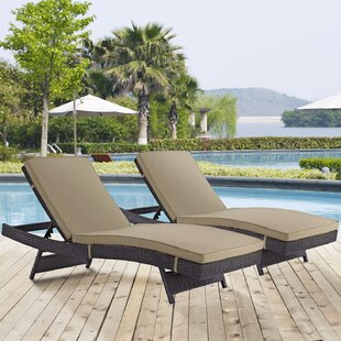 Latitude Run Ryele Chaise Lounge with Cushion (Set of 2)