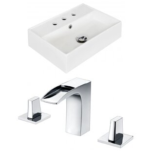 Compare & Buy Ceramic 20 Wall-Mount Bathroom Sink with Faucet and Overflow ByRoyal Purple Bath Kitchen