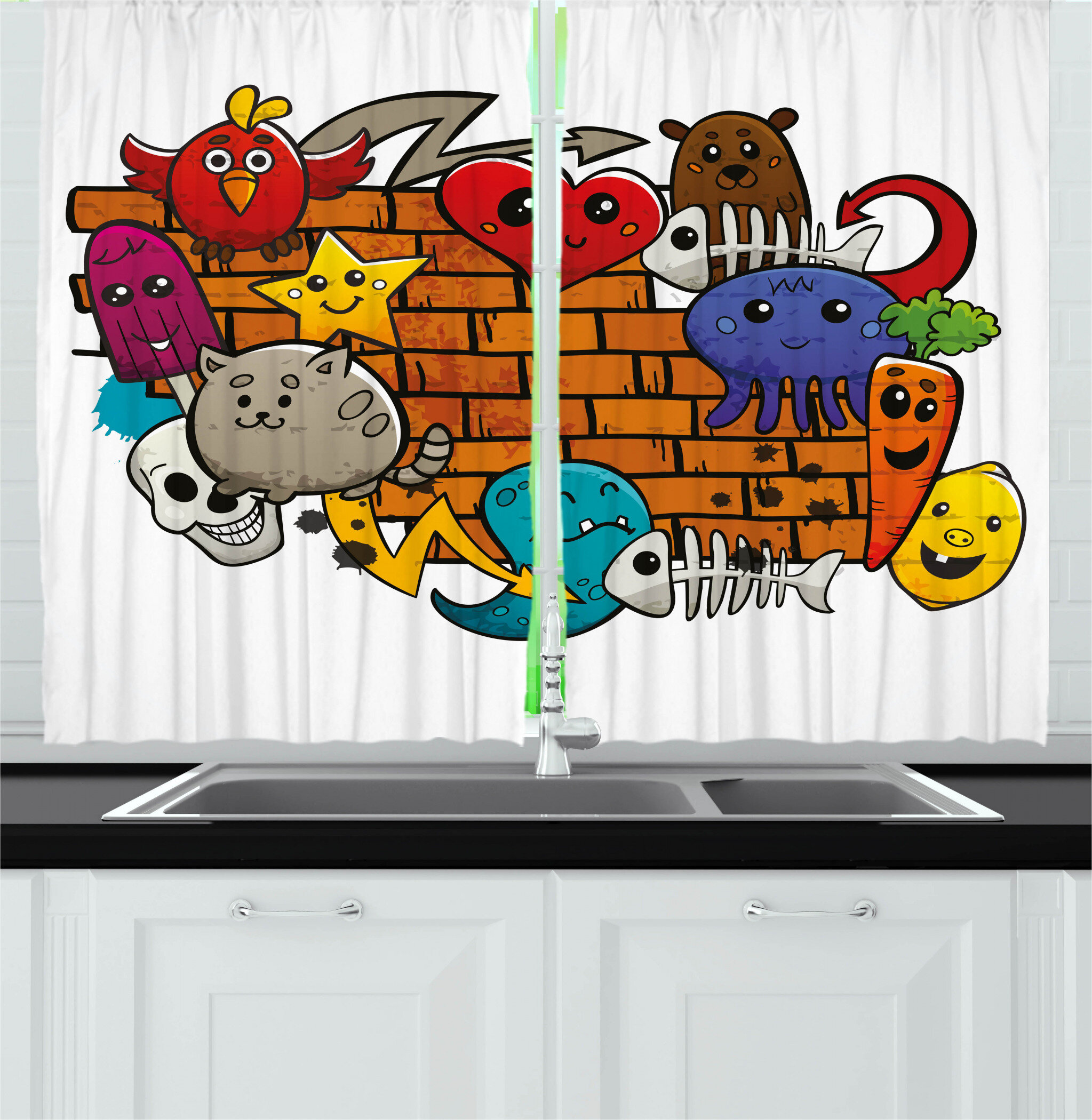 East Urban Home Graffiti 2 Piece Kitchen Curtain Wayfair