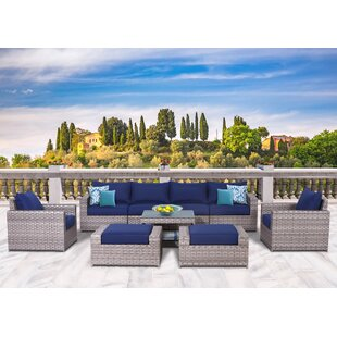 Burkley 9 Piece Sectional Set with Cushions By Longshore Tides
