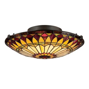 August Grove Dalal 2-Light Flush Mount in Vintage Bronze