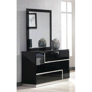 Wade Logan Lowrey 3 Drawer Dresser with Mirror