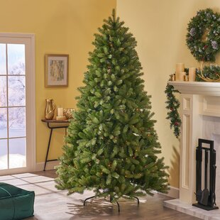 7 green spruce artificial christmas tree with 700 multicolor lights with stand