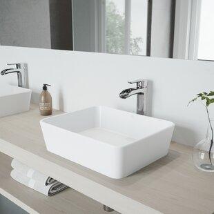 VIGO VIGO Matte Stone Rectangular Vessel Bathroom Sink with Faucet
