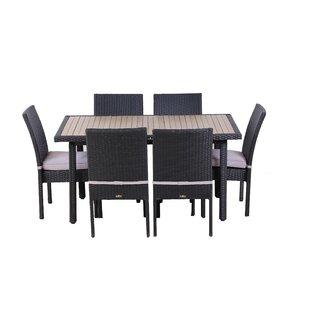 Orren Ellis Erik 7 Piece Outdoor Dining Set with Cushions