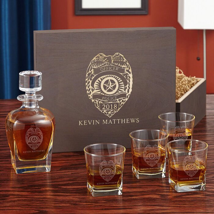 Police Badge Custom 5 Piece Whiskey Decanter Set