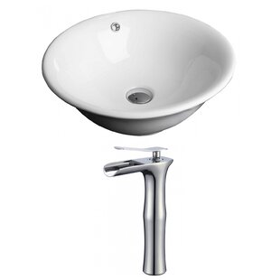 Check Prices Ceramic Circular Vessel Bathroom Sink with Faucet and Overflow By American Imaginations