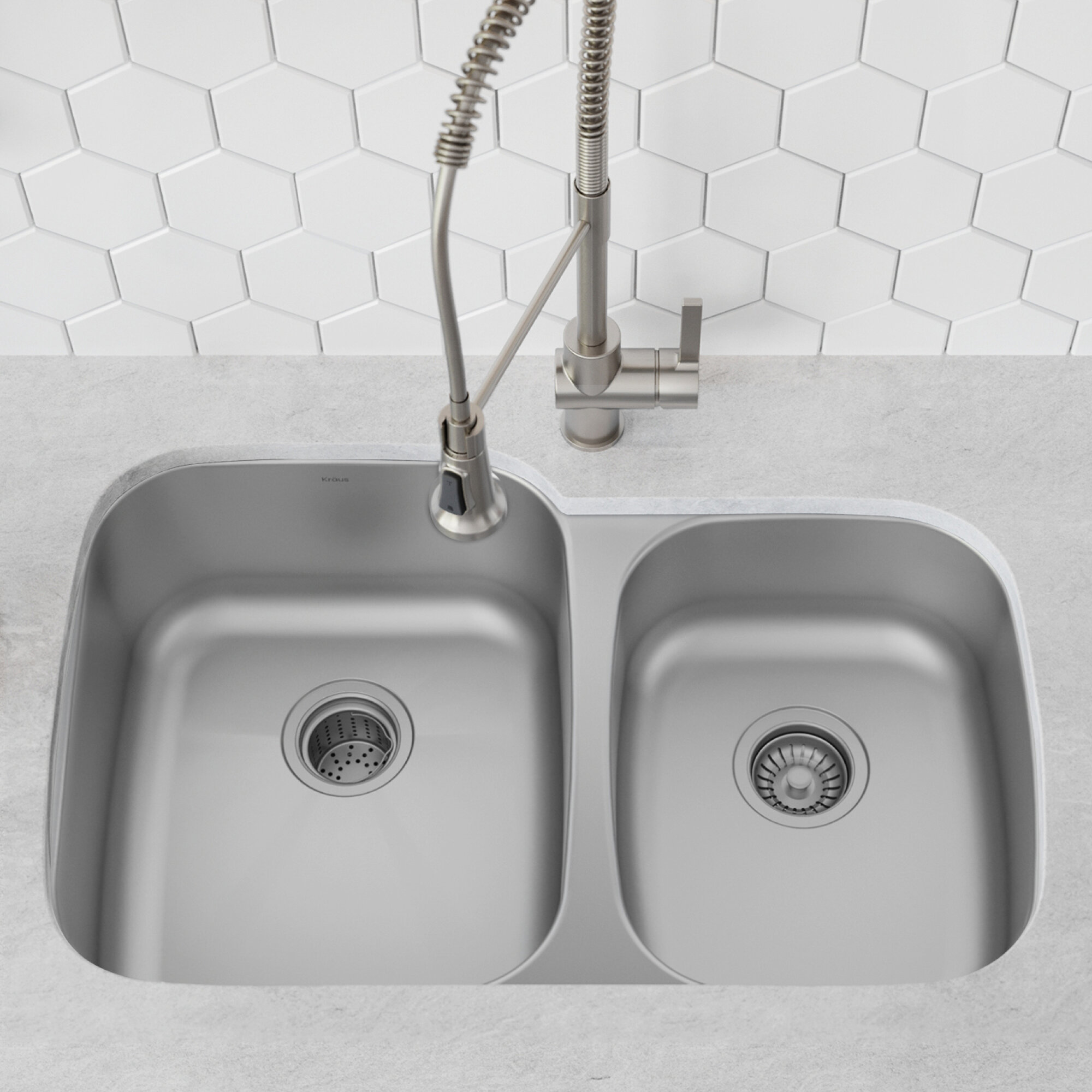 Kbu24 Kraus Premier 32 L X 21 W Double Basin Undermount Kitchen Sink With Basket Strainer And Drain Assembly Reviews Wayfair