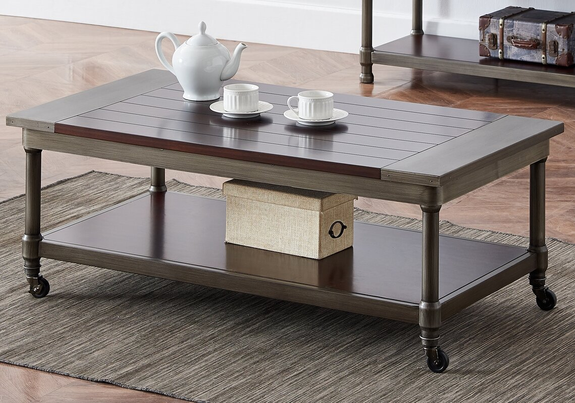 Canora Grey Ottilie Solid Wood 4 Legs Coffee Table with Storage