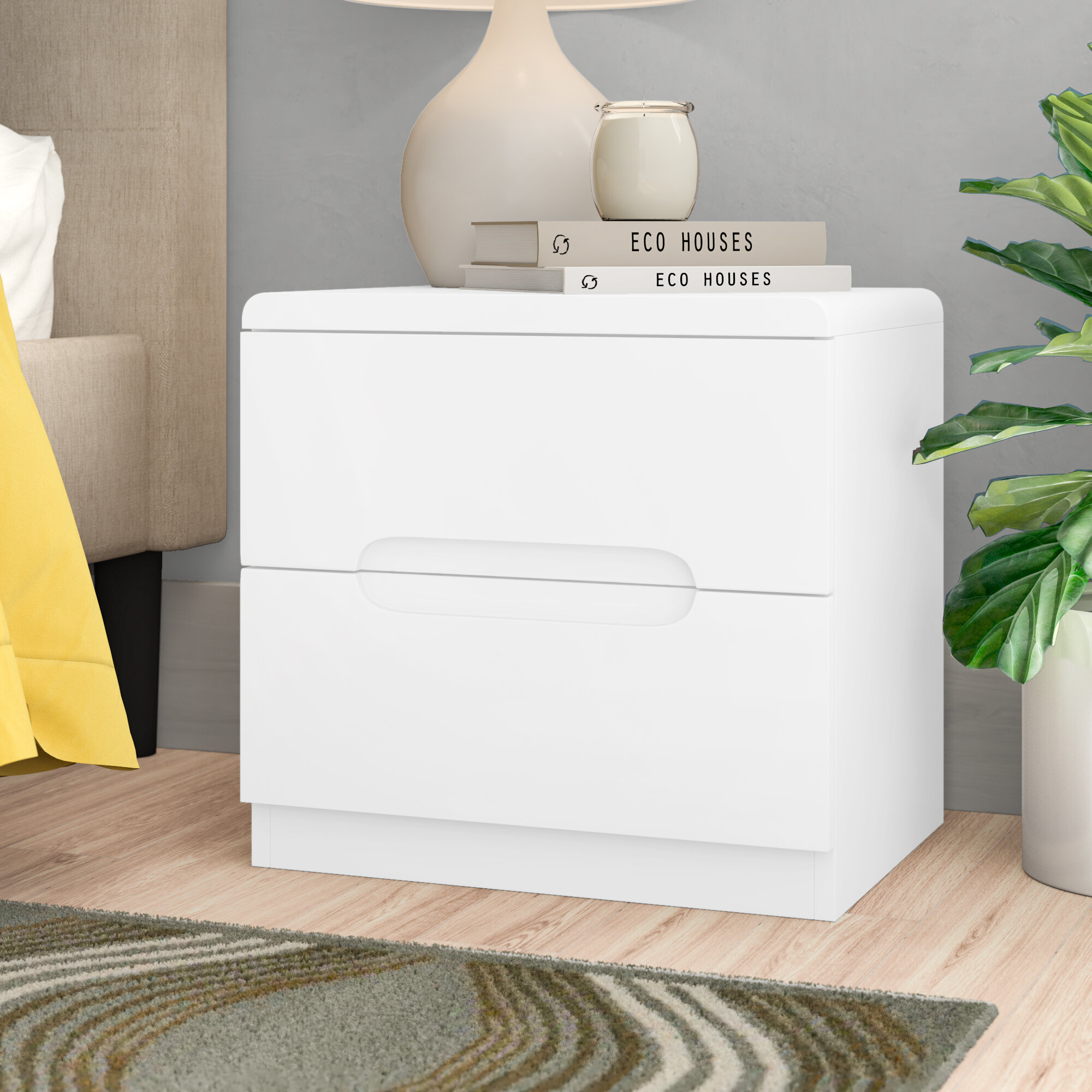 Picture of: Zipcode Design Howard 2 Drawer Bedside Table Reviews
