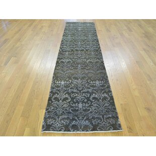 Read Reviews One-of-a-Kind Bean Damask Handwoven Black Wool/Silk Area Rug By Isabelline