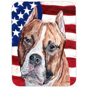 Patriotic Staffordshire Bull Terrier Staffie with American Flag USA Glass Cutting Board By Caroline's Treasures