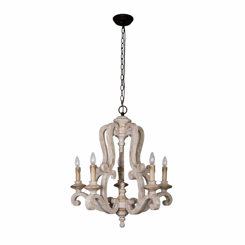Bella 5-Light Chandelier. #chandeliers #frenchcountry #candlestyle #lighting #romanticdecor #homedecor