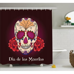 Jaime Day Of The Dead Dia De Los Muertos Quote With Spanish Skull Head Vivid Print Shower Curtain