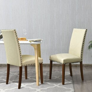 Bonsai Linen Upholstery Parsons Chair in Beige Set of 2 by Winston Porter
