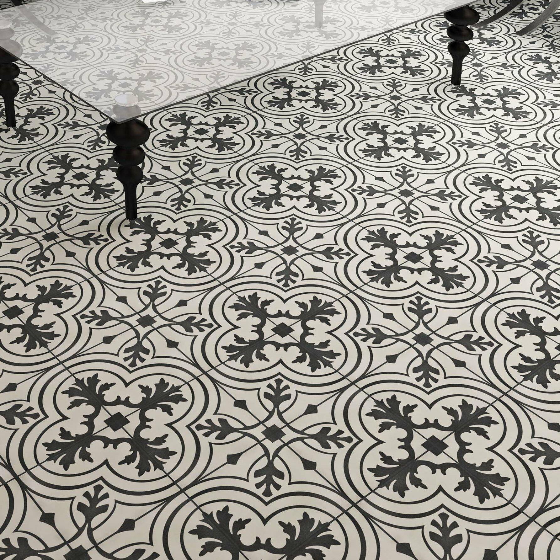 Elitetile wayfair forties 775 x 775 ceramic field tile in vintage charcoaloff white dailygadgetfo Choice Image