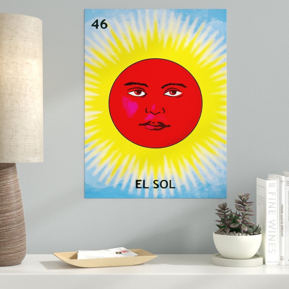 Ebern Designs \'El Sol Sun\' Graphic Art Print on Canvas | Wayfair