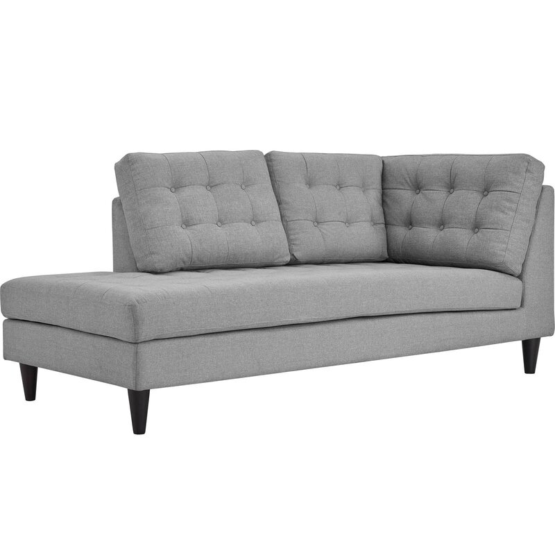 warren upholstered left arm chaise lounge
