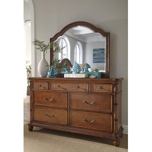 Panama Jack Home Isle Of Palms 7 Drawer Double Dresser with Mirror
