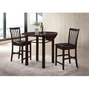 Garver 3 Piece Counter Height Solid Wood Dining Set