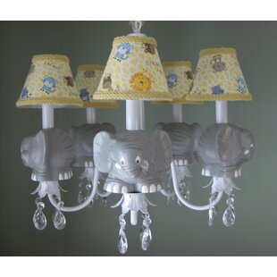 Silly Bear Lighting Elephant Parade 5-Light Shaded Chandelier