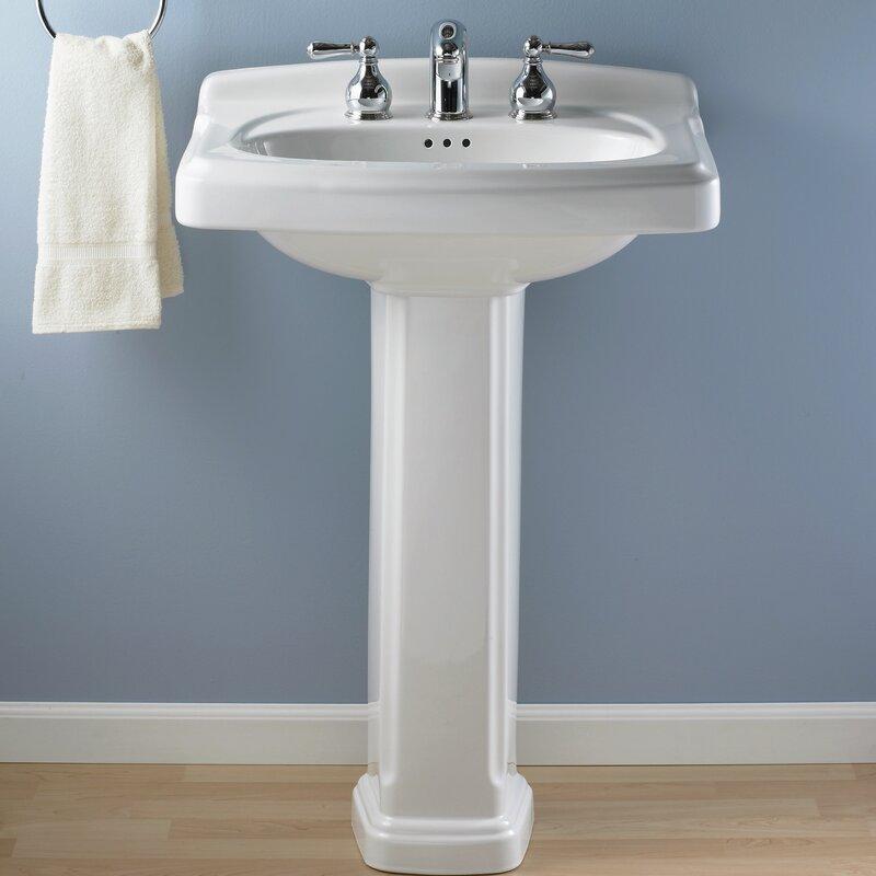 American Standard Portsmouth 24 3 Ceramic 25 Pedestal Bathroom Sink With Overflow Reviews Wayfair