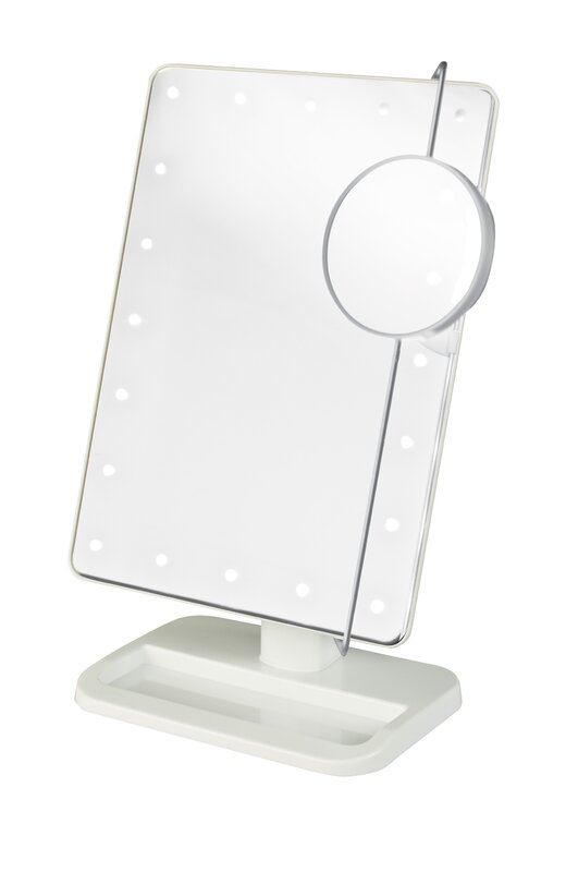 Portable LED Lighted Rectangle Tabletop Makeup Mirror