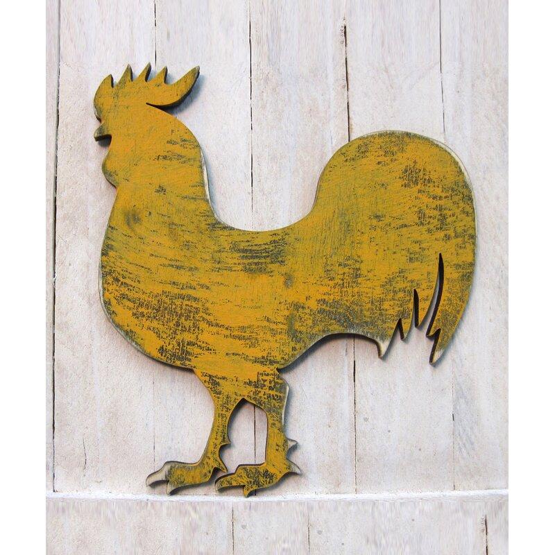 Distressed Rooster Wooden Door Hanger