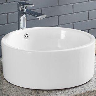 Swiss Madison Monaco Ceramic Circular Vessel Bathroom Sink with Overflow