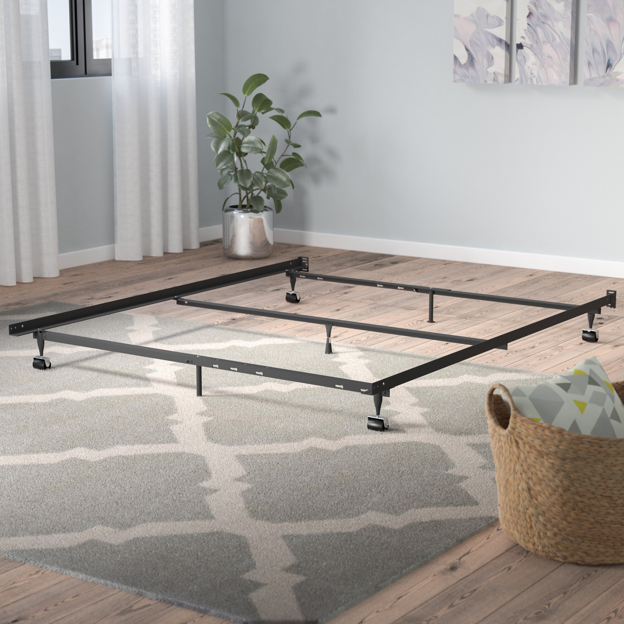 Symple Stuff Laverne Heavy Duty 7 Leg Adjustable Metal Bed Frame With Center Support And Rug Roller Reviews