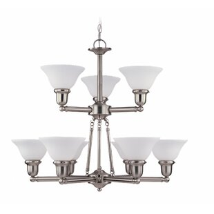 Three Posts Darmstadt 9-Light Shaded Chandelier