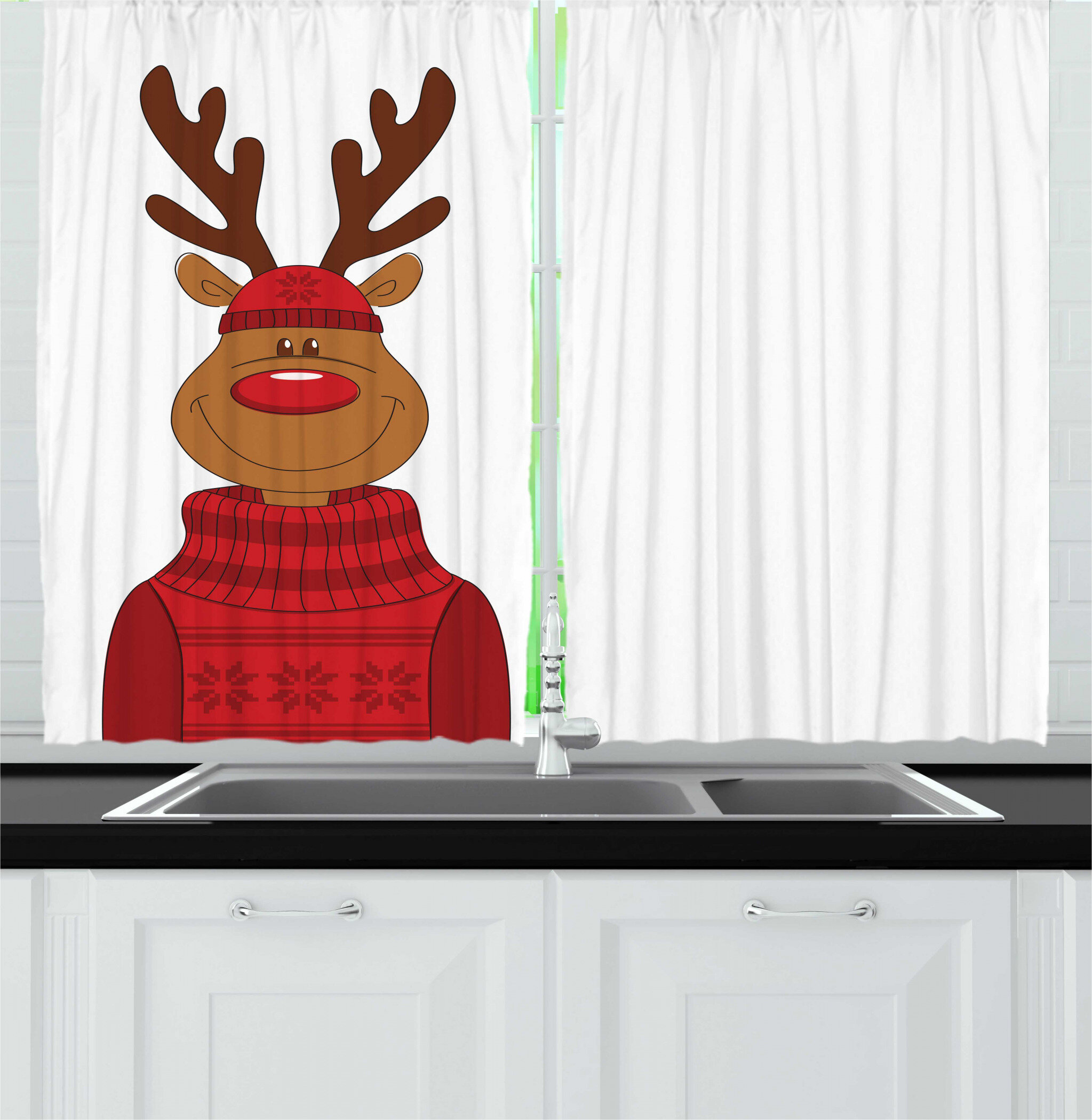 East Urban Home 2 Piece Christmas Smiling Cartoon Reindeer With A Nordic Xmas Sweater And Hat Kitchen Curtain Set Wayfair