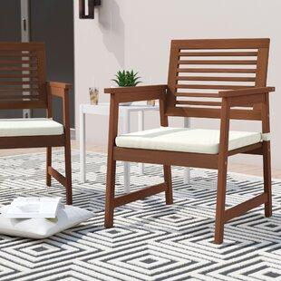 Arianna Teak Hardwood Outdoor Chair (Set of 2) by Langley Street