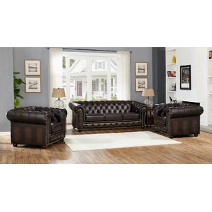 Katharine Leather 3 Piece Living Room Set