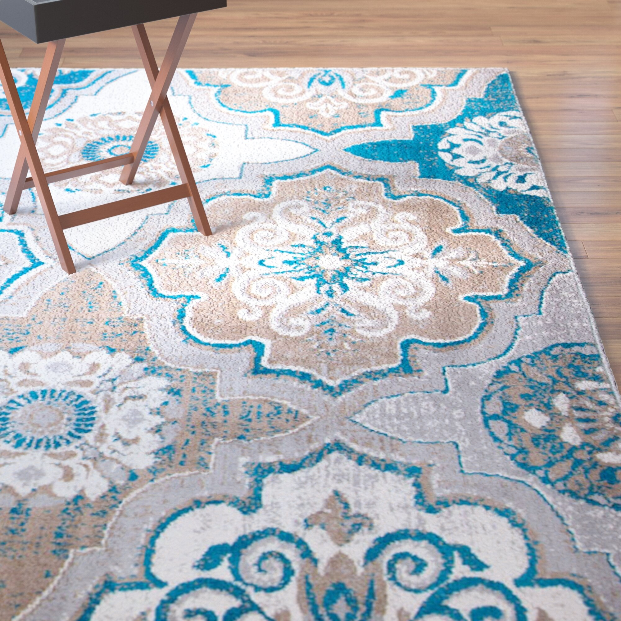 Albion Taupe Bright Blue Brown Area Rug