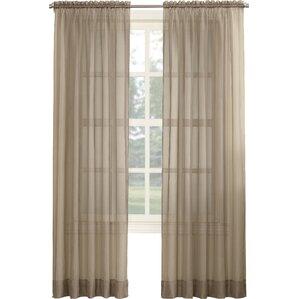 emily solid sheer rod pocket single curtain panel
