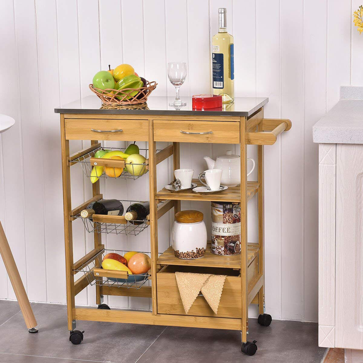 Hinckley Kitchen Cart with Stainless Steel Top